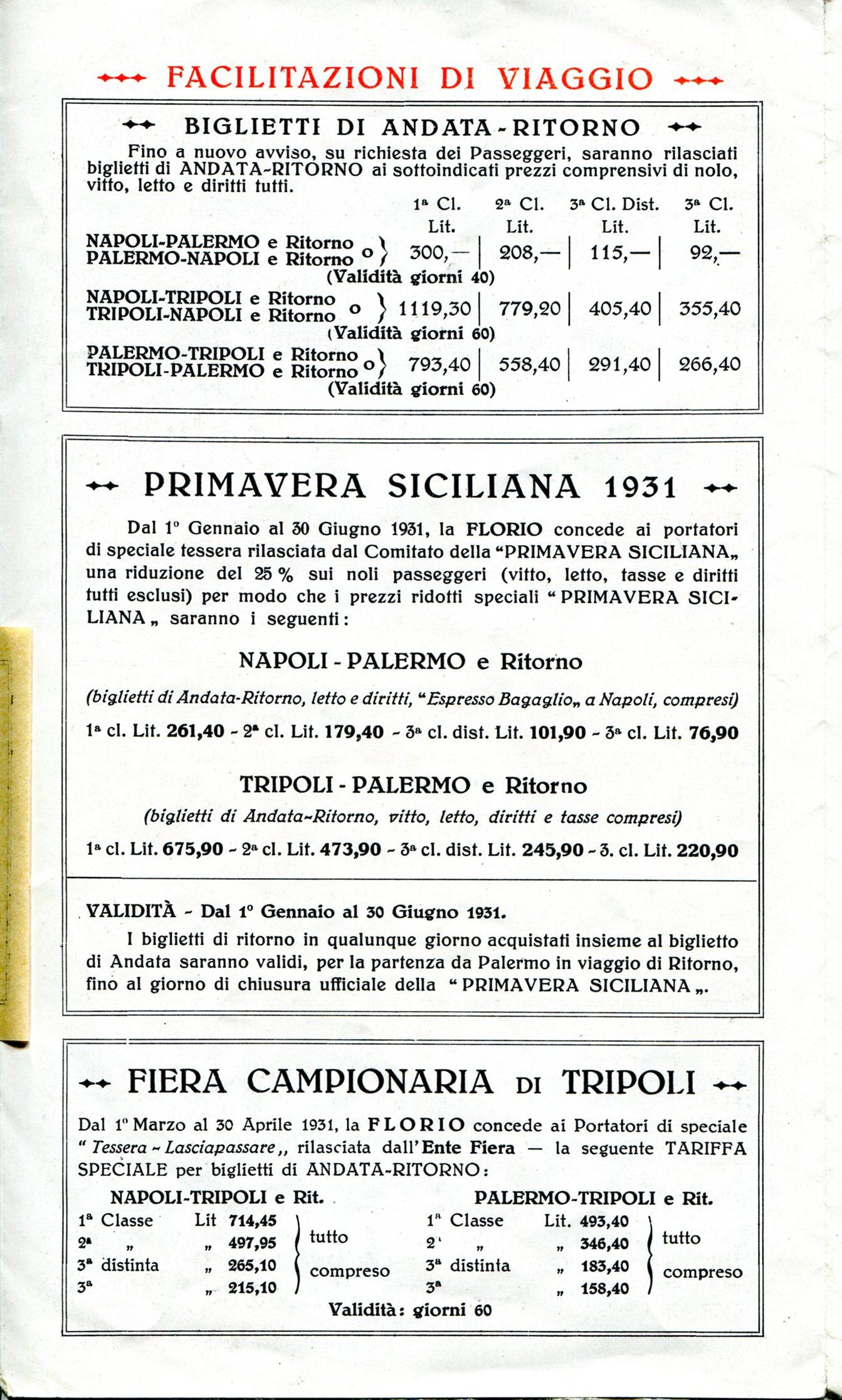 Precedente Successiva · Depliant Florio Linea Napoli Palermo Tripoli bc486b9685f